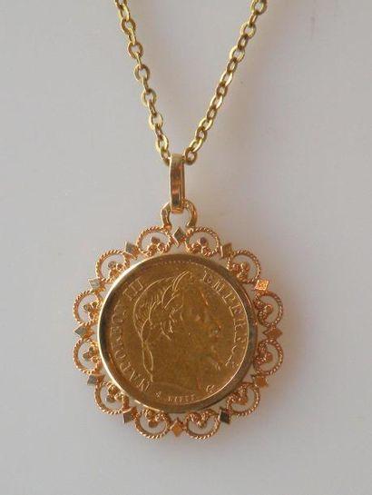 PIÉCE de 10 francs or 1868 montée en pendentif...