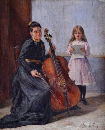 Marius BARTHALOT (1861-?) La leçon de violoncelle....