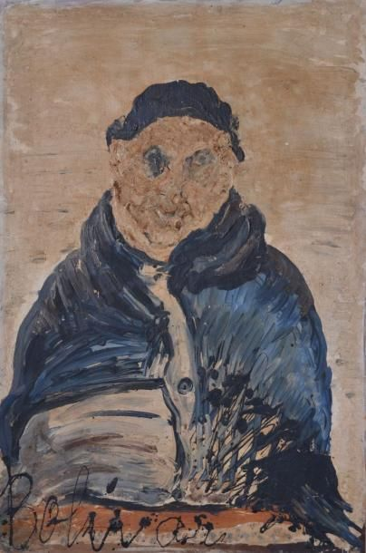 BOLIVAR, XXe. Buste d'homme au manteau. Huile...