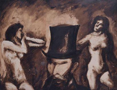 PONCET, XXe. Hommage à Manet. Portrait de...