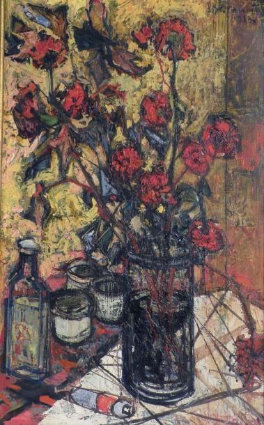 Jean COMMERE (1920-1986). Bouquet de coquelicots....
