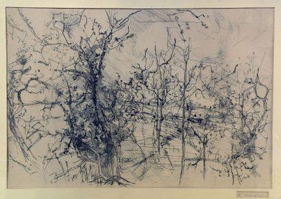 Jean COMMERE (1920-1986). Vignes en hiver....