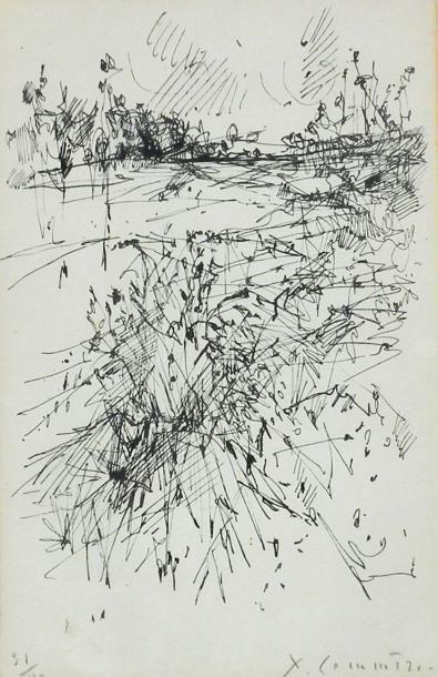 Jean COMMERE (1920-1986). Paysage en campagne....