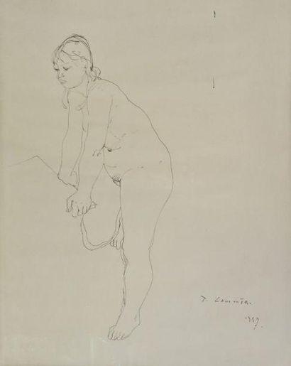 Jean COMMERE (1920-1986). Nu féminin. Dessin...