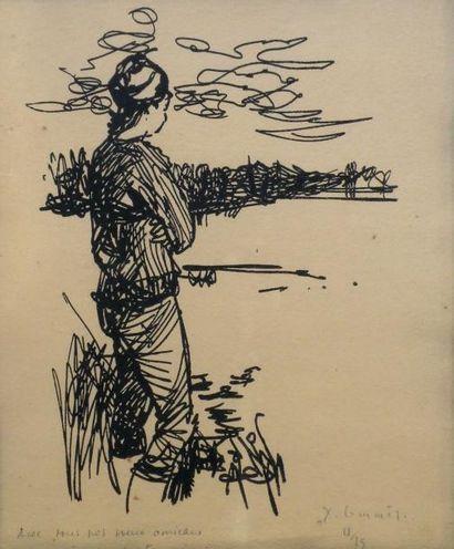 Jean COMMERE (1920-1986) L'attente. Gravure...