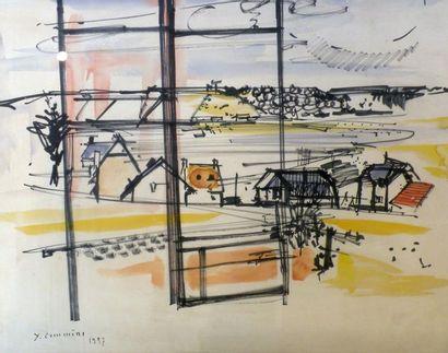 Jean COMMERE (1920-1986). Le hameau. Aquarelle...