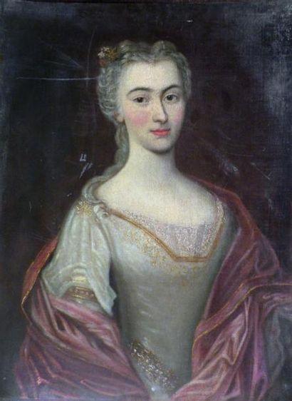 Ecole du XVIIIe. Portrait de dame de qualité....