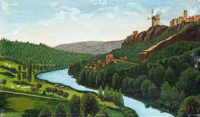 Maurice GRIMALDI dit GRIM (1890-1968) Le moulin à vent. Huile sur toile marouflée...