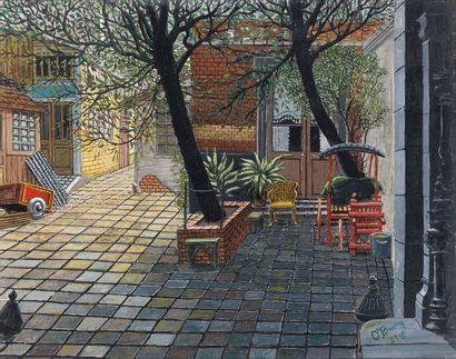 Gertrude O'BRADY (1901-1985). Cour intérieure,...