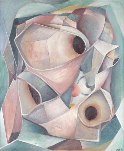 Henri GOETZ (1909-1989) Vertige, 1946. Huile sur carton signé en bas à droite et...