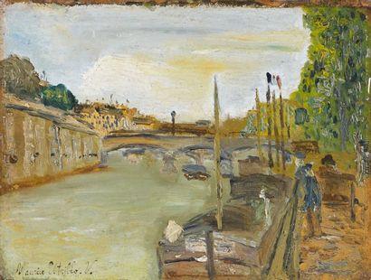Maurice UTRILLO (1883-1955). Le pont Saint Michel, circa 1905. Huile sur panneau...