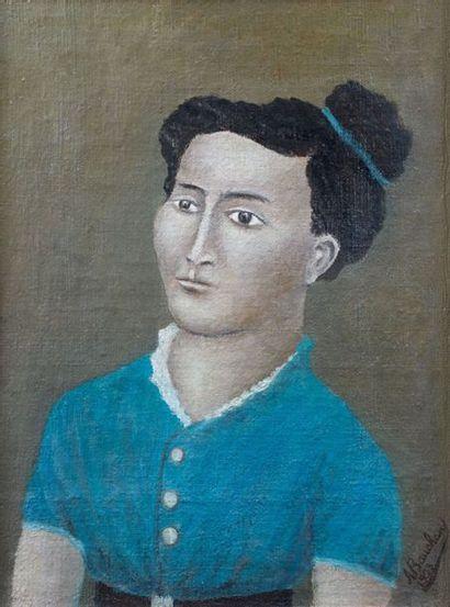 André BAUCHANT (1873-1958). Portrait de femme,...