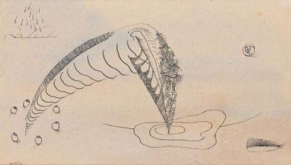 Henri GOETZ (1909-1989). Composition surréaliste, 1941. Encre de Chine signée et...
