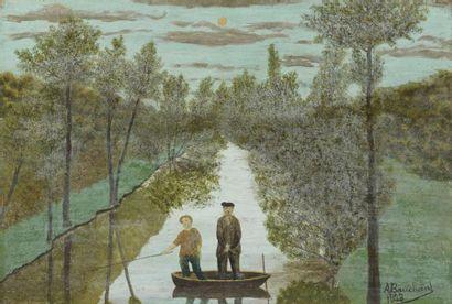 André BAUCHANT (1873-1958). Barque au clair...