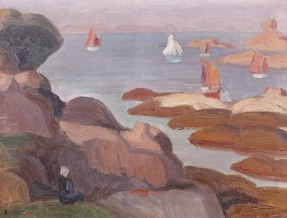 Jules ZINGG (1882-1942). La mer à Trégastel....