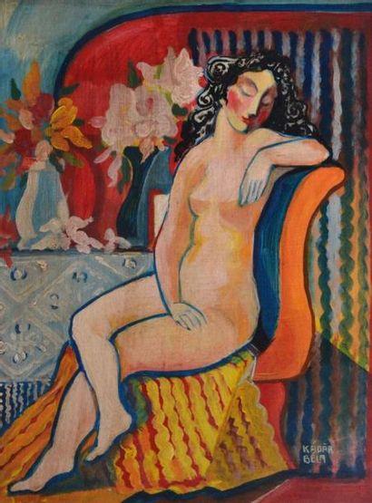 Béla KADAR (1877-1956). Nu assis. Huile sur...