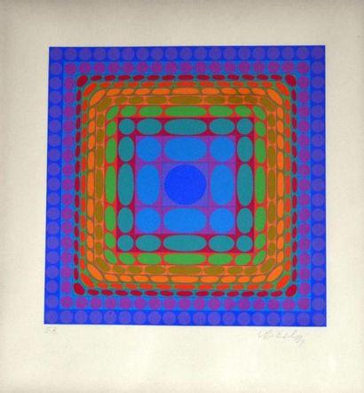 Victor VASARELY (1906-1997) Composition orangé...