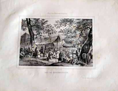 Victor ADAM (1801-1866) Fêtes des environs de Paris. Treize lithographies en noir,...