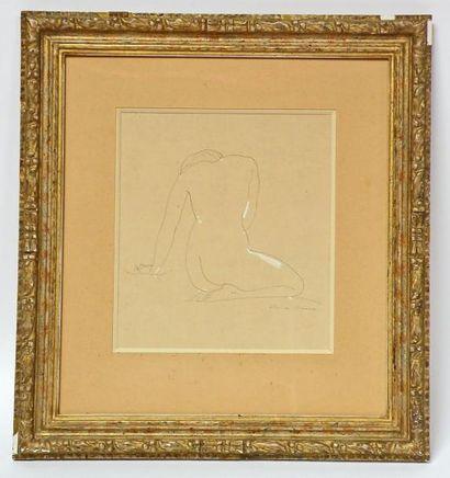 Claude CHEREAU (1883-1974) Nu assis de dos....