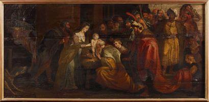 Ecole flamande XVIIe L'adoration des rois mages. Grand panneau trois planches. ...