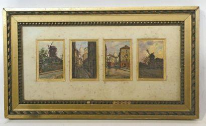 François DURANTI (Naples 1857 - ? après 1900). Quatre vues de Montmartre. Quatre...