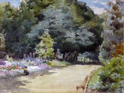 François DURANTI (Naples 1857 - ? après 1900). Femme dans un parc. Aquarelle signée...