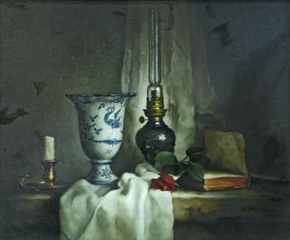 Georges PORCEL (1931). Nature morte au vase...