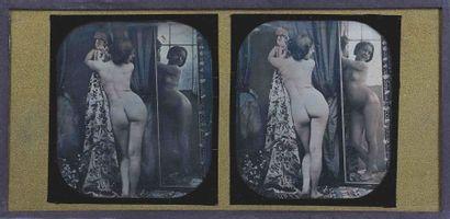 Louis Jules DUBOSCQ-SOLEIL [Attribué à] (1817-1886). Nu au miroir. 1851-1852. Daguerréotype...