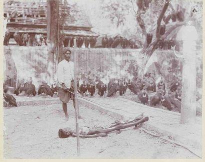 Cadavre dévoré par les vautours. Vers 1910....