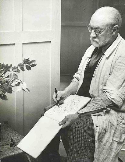 BRASSAÏ [Gyula Halász, dit] (1899-1984). Matisse dessinant des feuilles d'après...