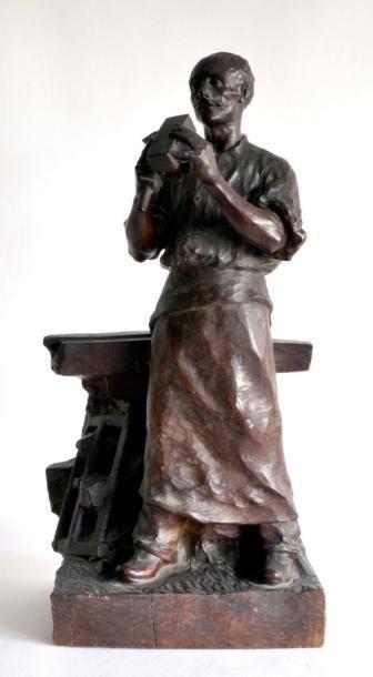 Georges ISELIN (1874-?) Le forgeron vérifiant...