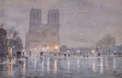 René LEVERD. Notre-Dame de Paris, la nuit,...