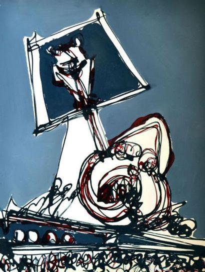 Claude VISEUX (1927-2008) L'affiche bleue,...