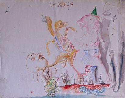 DADO (1933-2010) attribué à La poulie Aquarelle...