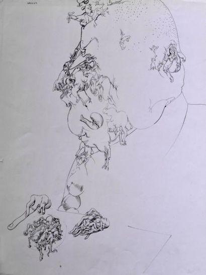 DADO (1933-2010) Composition, 1964 Encre...