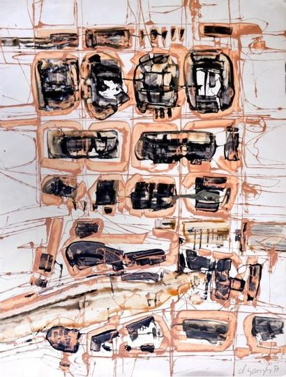 Claude GEORGES (1929-1988) Composition beige...