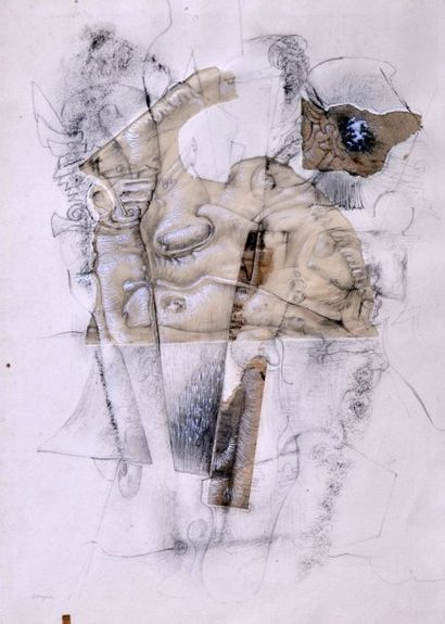 Christian d'ORGEIX (1927) Composition Crayon...