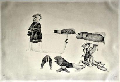 Fred DEUX. Composition, 1959 Technique mixte...