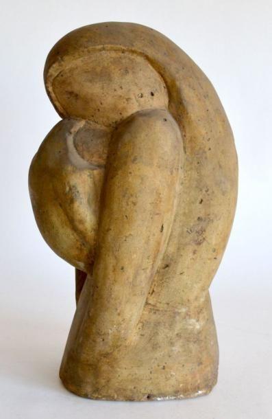 ANONYME, vers 1930. Maternité. Plâtre patiné,...