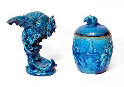 LACHENAL. COQ en faïence émaillée turquoise....