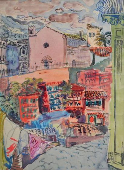 Jacques LAURENT, XXe. Village méditerranéen....
