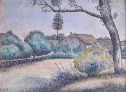 Georges ISELIN (1874-?). Ferme en campagne,...