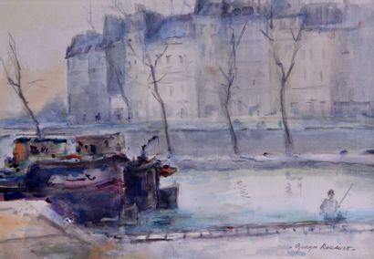 Georges-Dominique ROUAULT (1904-2002). Peniches...