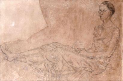 Tsuguharu FOUJITA (1886-1968). Elégante allongée,...