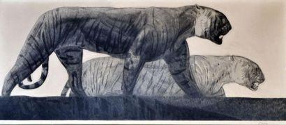 Paul JOUVE (1878-1973) (d'après) Deux tigres....