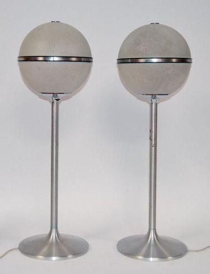Paire de BAFLES acoustiques sur pied, GRUNDIG. Vers 1970. H. 80 cm