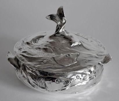 LEGUMIER en métal argenté de forme ronde,...