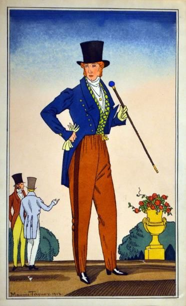 Maurice TAQUOY (1878-1952) Dandy à la canne,...