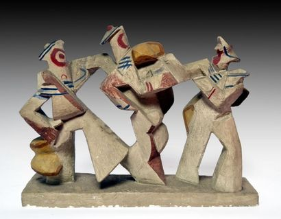 Léon BORGEY (1888-1959) Trois marins. Plâtre...
