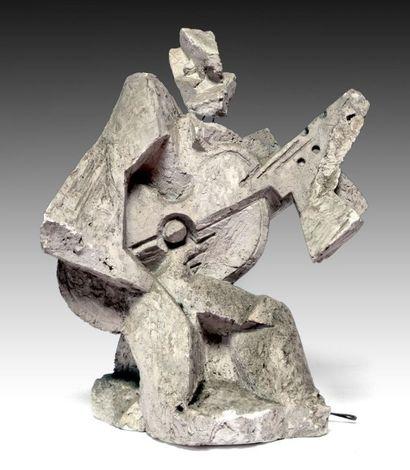 Léon BORGEY (1888-1959) Le guitariste. Plâtre...